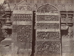 Hungul. Two sculptured memorial stones. [Hangal.]